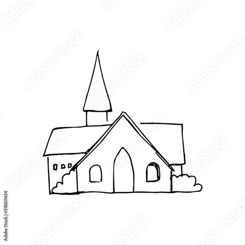 Valokuva vector sketch of a rural chapel in vintage style