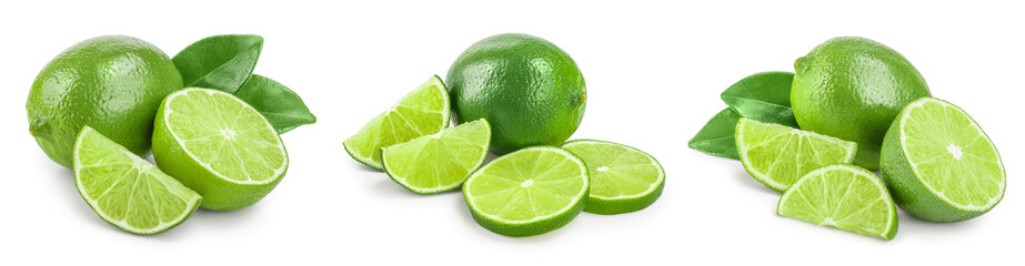 lime with half and leaf isolated on white background. Set or collection