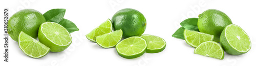 Fotografia, Obraz lime with half and leaf isolated on white background
