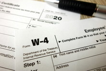 Blank W-4 Form And A Pen. Tax ...