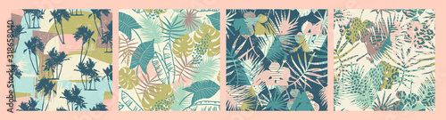 Obraz Seamless exotic patterns with tropical plants and artistic background. - fototapety do salonu