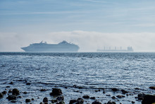 Cruise Ship And Cargo Ship Off The Coast Of Lisbon.