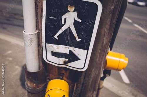 Obraz na plátně Close-Up Of Road Sign