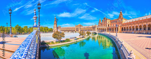Panorama of large Plaza de Espana in Seville, Spain