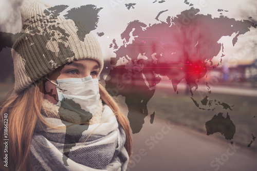 MERS-CoV Chinese infection Corona Virus masked girl on the background of the cit Canvas Print