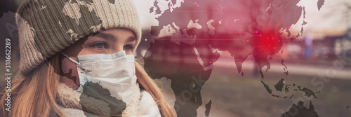 Obraz MERS-CoV Chinese infection Corona Virus masked girl on the background of the city in smog, the concept of the epidemic of the virus in China - fototapety do salonu