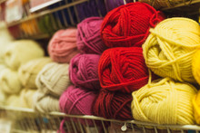 Colored Skeins Of Wool On A St...