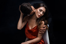 Elegant Man Kissing Beautiful ...