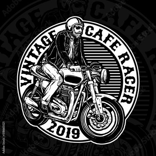 man riding cafe racer custom motorcycle vector badge Canvas Print