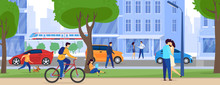 People On City Streets, Skyscrapers And Traffic, Urban Lifestyle Vector Illustration