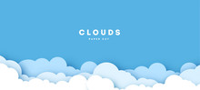 Beautiful Fluffy Clouds On Blue Sky Background. Vector Illustration. Paper Cut Style. Place For Text.