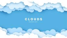 White Cloud On Blue Sky Paper Cut Design. Vector Paper Art Illustration. Paper Cut Style. Place For Text.