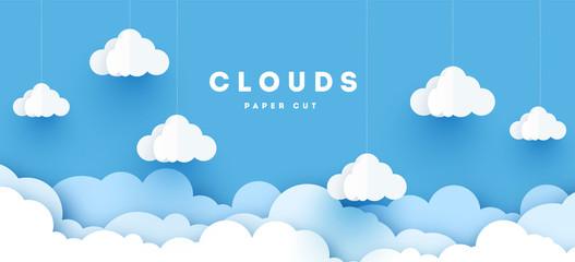Oblaci papira vektora. Bijeli oblak na dizajnu izrezanog papira na plavom nebu. Vektorska ilustracija umjetničkog papira. Stil rezanja papira. Mjesto za tekst.
