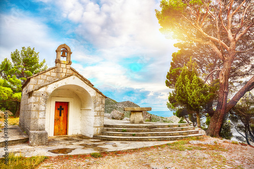 An old baroque church above the mouth of the river Cetina near Omis Canvas Print