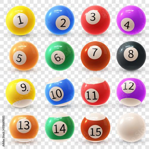 Realistic colorful vector set of glossy 3D billiard balls Fototapet