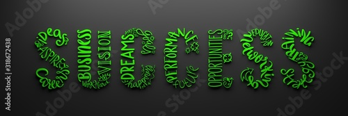 Photo 3D render of bright green hand lettering word cloud in shape of SUCCESS on dark