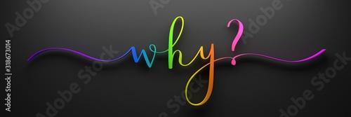 Obraz 3D render of rainbow-colored WHY? brush calligraphy on dark background - fototapety do salonu