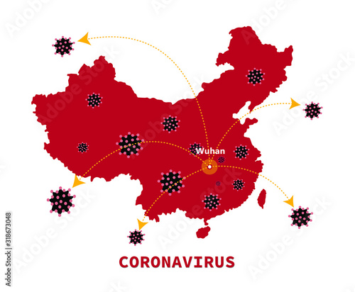 Fotografie, Tablou Map of China with arrows showing the spread of the corona virus