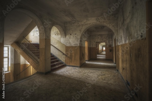 Beautiful shot of a hallway and stairs in an old building