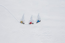 Aerial Drone Photo Of A Group Of Friends Riding Their Fat Bike In The Snow In Ontario, Canada