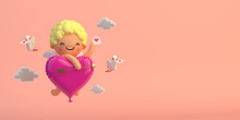 3D-illustration Cupid With Hea...