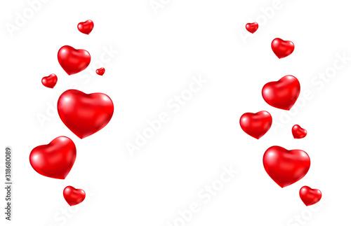 Rama serce czerwony balon. Balony z jasnego helu. Karta walentynkowa. Balon w kształcie serca. Romantyczna granica. Ilustracji wektorowych