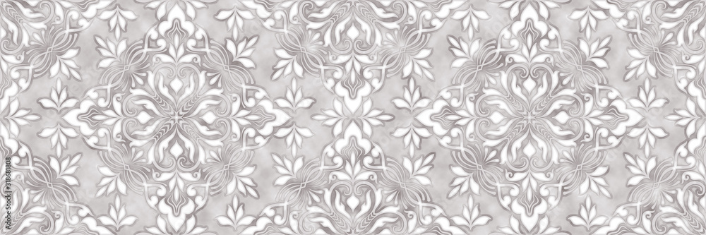Damask flowers seamless background with pattern