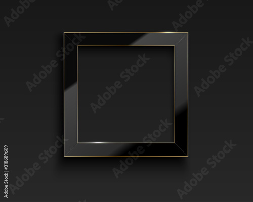 Fototapeta Vector square glossy luxury black and golden line frame. Border for photo, picture, congratulations, quote. Realistic glass frame with reflection gold edge on dark background obraz