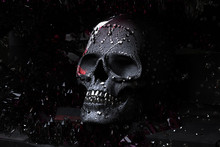3D Render Black Skull With Dia...