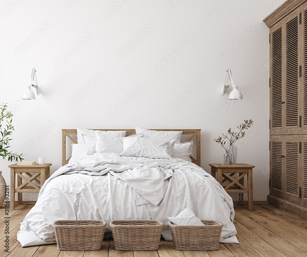 Fototapeta Scandinavian farmhouse bedroom interior, wall mockup, 3d render