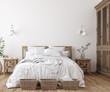 canvas print picture - Scandinavian farmhouse bedroom interior, wall mockup, 3d render