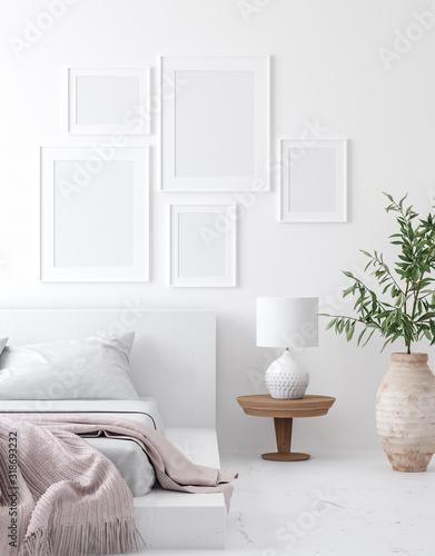 Fototapeta Mockup poster frame in white cozy bedroom interior, Scandinavian style, 3d render obraz