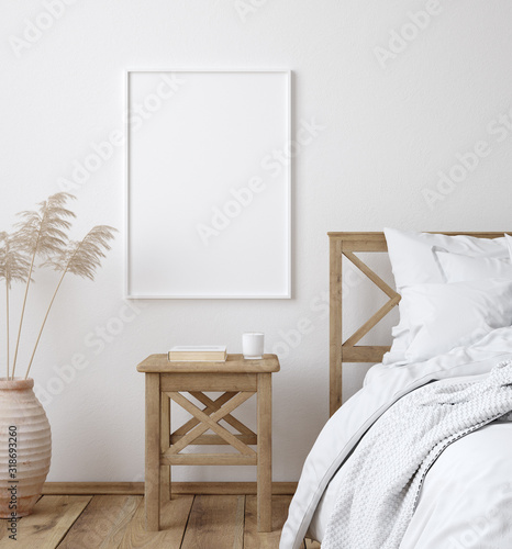 Платно Mockup poster frame in white cozy bedroom interior, Scandinavian style, 3d rende