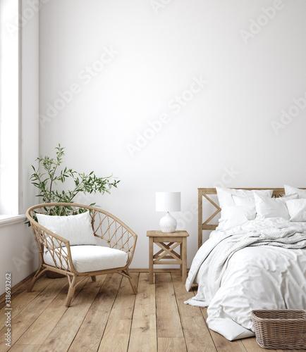 Canvastavla Scandinavian farmhouse bedroom interior, wall mockup, 3d render