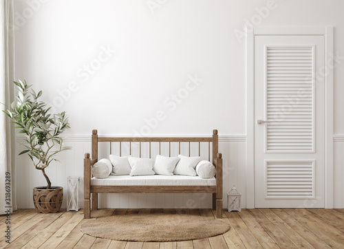 Foto Scandinavian farmhouse hallway interior, wall mockup, 3d render