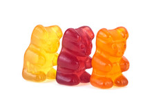 Three Colorful Gummy Bears Isolated On A White Background