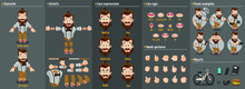 Cartoon Bearded Hipster Constructor For Animation. Parts Of Body: Legs, Arms, Face Emotions, Hands Gestures, Lips Sync. Full Length, Front, Three Quater View. Set Of Ready To Use Poses, Objects.