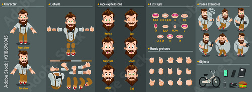 Fototapeta Cartoon bearded hipster constructor for animation. Parts of body: legs, arms, face emotions, hands gestures, lips sync. Full length, front, three quater view. Set of ready to use poses, objects. obraz