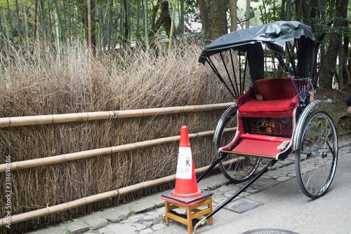 Fényképezés  Rickshaw Cart By Fence