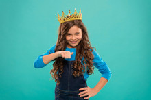 I Am The Best. Kid Wear Golden Crown Symbol Princess. Every Girl Dreaming Become Princess. Lady Little Princess. Girl Wear Crown Turquoise Background. Spoiled Child Concept. Egocentric Princess