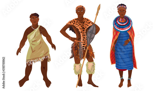 Set of aboriginal women and men from Africa sunny continent Canvas Print