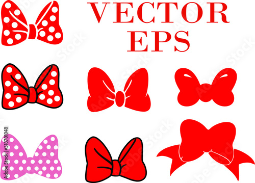 Photo set of bows. minnie bow set. Vector eps