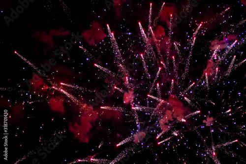 Obraz na plátne Fireworks in a dark night sky