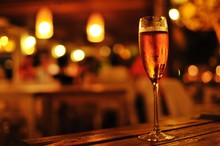 Close-Up Of Champagne On Table In Restaurant