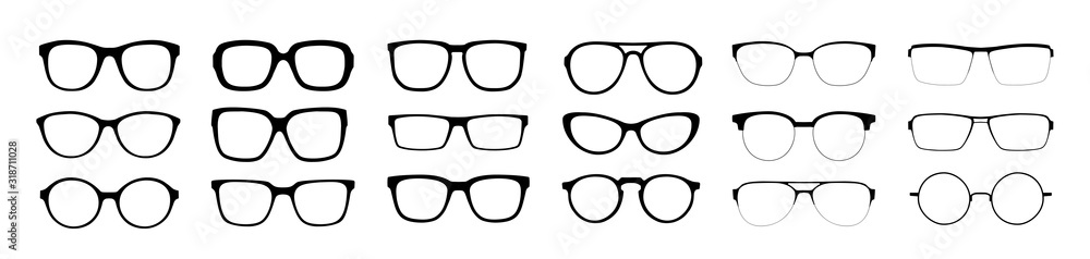 Fototapeta A set of glasses isolated. Vector glasses model icons. Sunglasses, glasses, isolated on white background. Silhouettes. Various shapes - stock illustration.