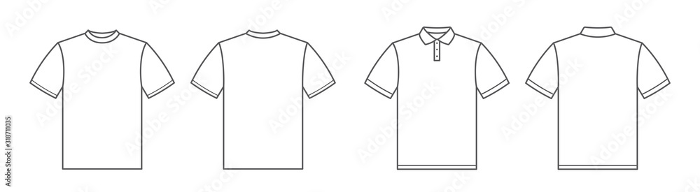Fototapeta T-shirts. Polo shirt. Tshirt front and back view. Outline style - stock vector.