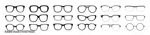 Fototapeta A set of glasses isolated. Vector glasses model icons. Sunglasses, glasses, isolated on white background. Silhouettes. Various shapes - stock illustration. obraz