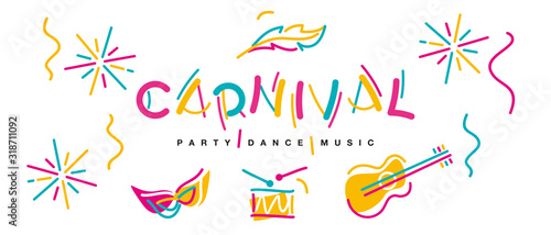 Photo Carnival black light handwritten typography colorful logo party dance music carn