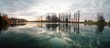 PANORAMIC VIEW OF REFLECTION OF CLOUDS IN WATER