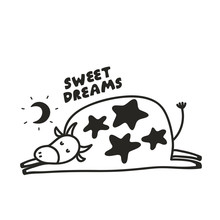 Funny Poster With Sleeping Cow Under The Moon.